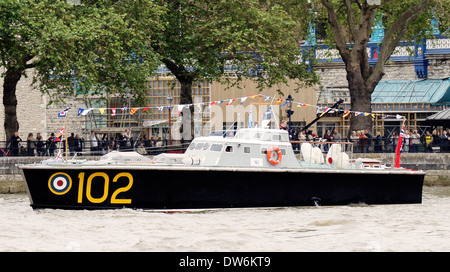 MTB 102 is one of few surviving UK WW2 motor torpedo boats off the Tower of London during the 2012 Queens Jubilee - Stock Photo