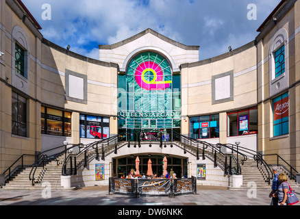 Entrance to Queen's Arcade Shopping Centre from Working Street, Cardiff, South Glamorgan, Wales, UK - Stock Photo