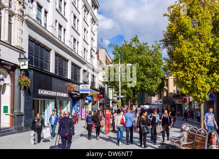 Shops on Queen Street in the city centre, Cardiff, South Glamorgan, Wales, UK - Stock Photo