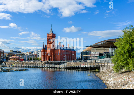 Historic Pierhead Building of National Assembly for Wales with Assembly building to right, Cardiff Bay, Cardiff, - Stock Photo