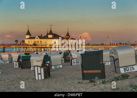 The Ahlbeck pier is a pier on the Baltic Sea, Ahlbeck, Island of Usedom, Mecklenburg-Western Pomerania, Germany, - Stock Photo