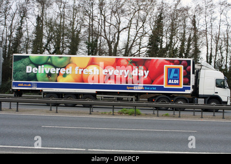 An articulated truck traveling along the A12 road in Essex, England - Stock Photo