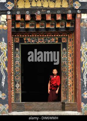 Monk, Trashigang Dzong, Bhutan - Stock Photo