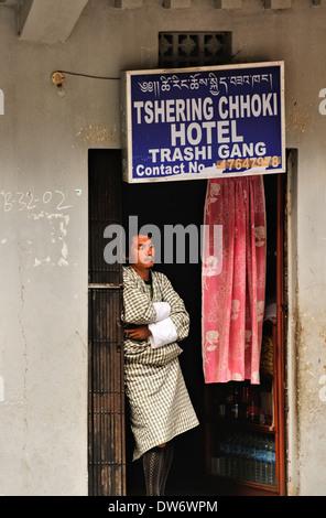 Hotel entrance, Trashigang, Eastern Bhutan - Stock Photo