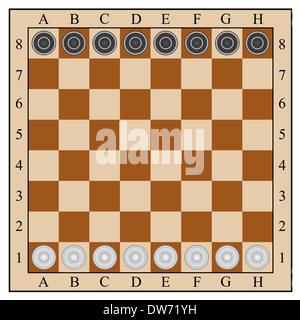 classic checkers, board and checkers. vector illustration - Stock Photo