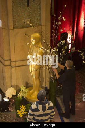 March 1, 2014 - Hollywood, CALIFORNIA, UNITED STATES OF AMERICA - On Saturday February 26, 2014, preparations are - Stock Photo