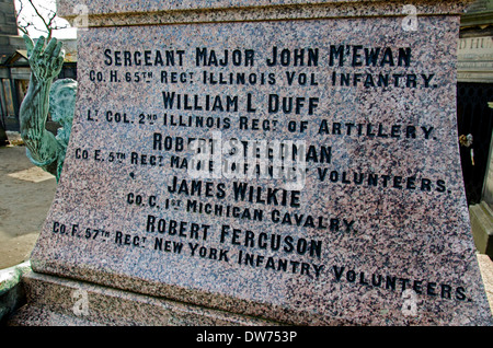 Detail of the inscription on the memorial to Scottish Americans who fought in the American Civil War, Old Calton - Stock Photo