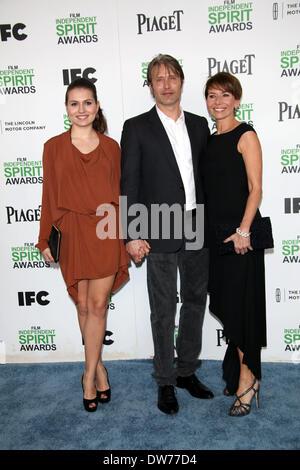 Actor Mads Mikkelsen, Viola Mikkelsen (l) and Hanne Jacobsen (r) attend the Film Independent Spirit Awards at Santa - Stock Photo