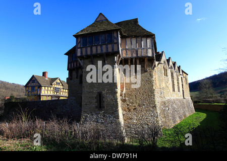 Stokesay Castle, medieval fortified manor house, Craven Arms, Shropshire County, England, UK - Stock Photo
