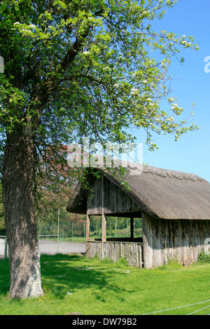 Thatched tennis pavilion Stanway Gloucestershire England UK - Stock Photo