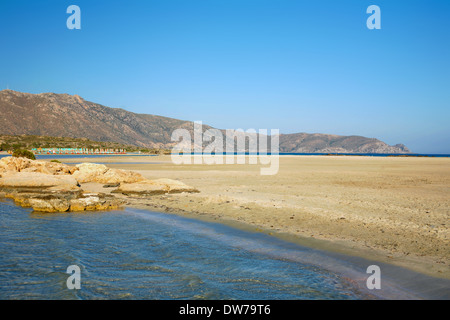 Gentle waves lap Elafonissos beach on the south-west coast of Crete, Greece, - Stock Photo