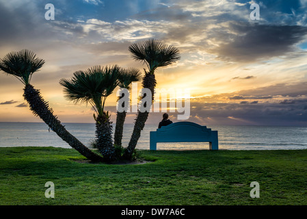 Coastal sunset viewed from Law Street Park. San Diego, California, United States. - Stock Photo