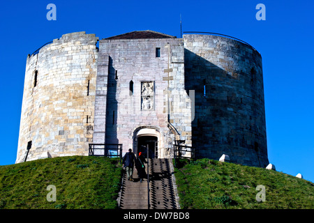 Grade 1 listed Clifford's Tower the keep of former York Castle north Yorkshire England Europe - Stock Photo