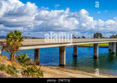 Ingraham Street Bridge at Mission Bay Park.  San Diego, California, United States. - Stock Photo