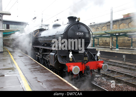 LNER Thompson Class B1 61264 & LMS Stanier Class 5 4-6-0 45407,The Lancashire Fusilier at Carlisle Railway Station, - Stock Photo