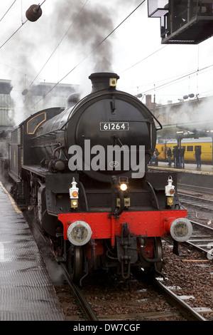 LNER Thompson Class B1 61264 & LMS Stanier Class 5 4-6-0 45407,The Lancashire Fusilier at Carlisle Railway Station, - Stock Photo