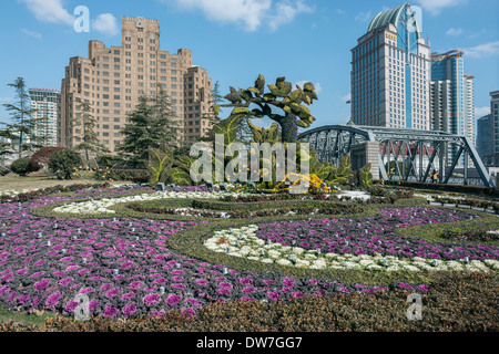 Waibaidu steel bridge across Suzhou Creek and Broadway Mansions Hotel, Shanghai, China