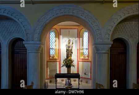 Statue of the saint in alcove, Roman Catholic Church of St James, Reading, Berkshire, England, UK - Stock Photo