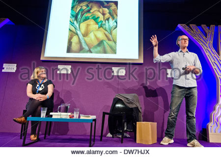 British broadcaster and writer Will Gompertz (right) at the Edinburgh International Book Festival. He is the BBC's - Stock Photo
