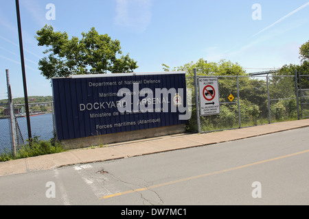 The entrance to the HMC Dockyard in Halifax, N.S. - Stock Photo