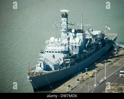 Type 23 Duke class frigate HMS westminster in Portsmouth Naval Dockyard - Stock Photo