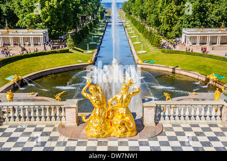 Grand Cascade in Peterhof, St Petersburg - Stock Photo