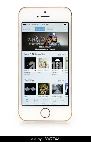 iTunes Music on iPhone 5S, list, selection, menu of music on Screen iPhone 5 S - Stock Photo