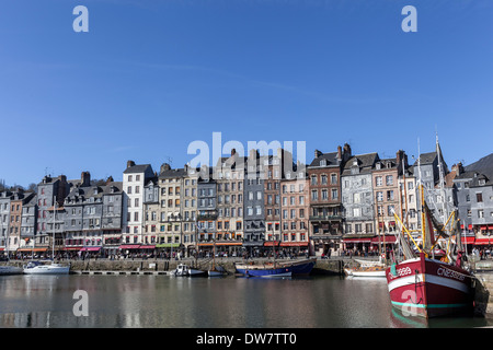Honfleur beautiful picturesque port, characterized by its houses with slate-covered frontages. - Stock Photo