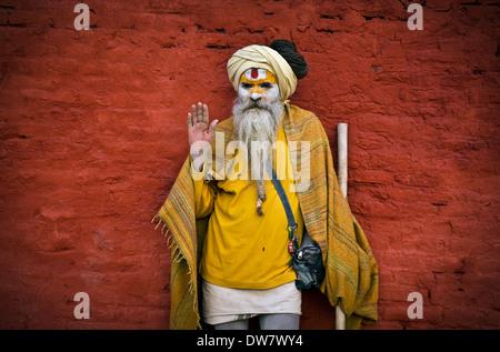 Sadhu at Pashupatinath during annual Shivaratri festival,Kathmandu,Nepal - Stock Photo