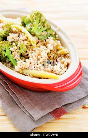 porridge with vegetables, food closeup - Stock Photo