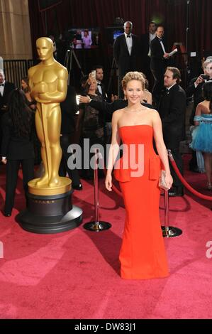 Los Angeles, USA. 2nd Mar, 2014. Jennifer Lawrence arrives at the red carpet for the Oscars at the Dolby Theatre - Stock Photo