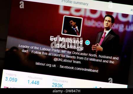 Computer screen shot: twitter account - Ed Milliband (March 2014) - Stock Photo