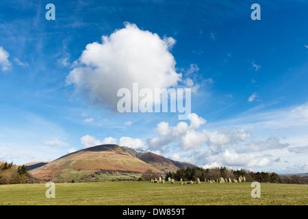 Castlerigg Stone Circle and Blencathra - Stock Photo