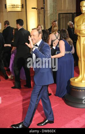 Los Angeles, USA. 2nd Mar, 2014. Kevin Spacey arrives at the red carpet for the Oscars at the Dolby Theatre in Hollywood, - Stock Photo