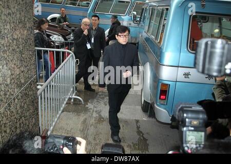 Hong Kong, China. 28th Feb, 2014. Jackie Chan, Sammo Hung and Eric Tsang attend funeral of actor Wu Ma in Hong Kong, - Stock Photo