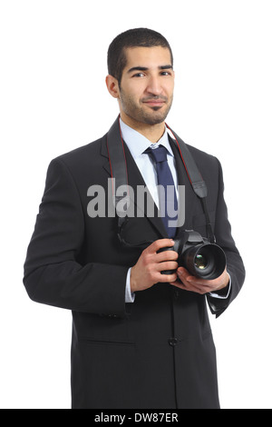 Arab professional photographer holding a dslr digital camera isolated on a white background - Stock Photo