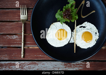 Egg breakfast with elegant food styling - Stock Photo