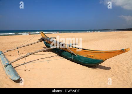 Sri Lanka, Bentota, beach, outrigger canoe, - Stock Photo