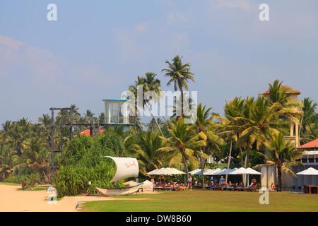 Sri Lanka, Bentota, beach, palms, people, - Stock Photo