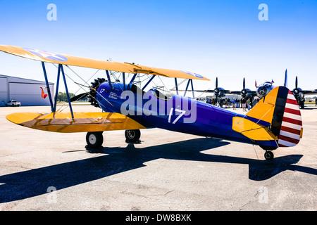 Boeing Stearman Model 75 biplane - Stock Photo