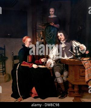 Young couple at breakfast 1667 Gabriel Metsu 1629 -1667 Dutch Netherlands - Stock Photo
