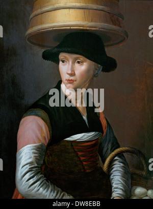 Farmer girl with a butter churn and a basket of eggs 1580  Pieter Pietersz 1540 1549 Dutch Netherlands - Stock Photo