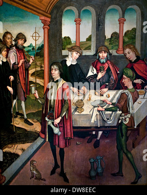 Three pilgrims on their way to St James of  Compostela 1480 master of Strasbourg France French - Stock Photo
