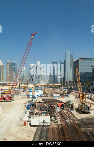 Construction on a building site near the Dubai Mall, Dubai, UAE, United Arab Emirates Middle East - Stock Photo