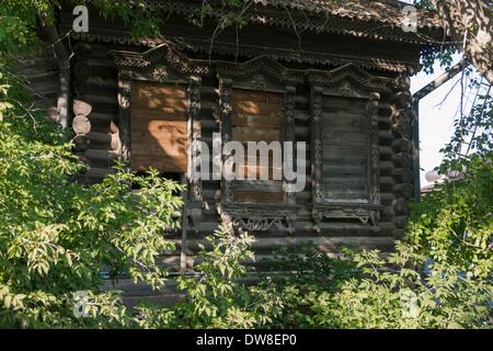 Traditional carved architecture in Kozmodemyansk, Mari El republic, Russia - Stock Photo