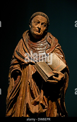 Saint moine ( Saint Bernard de Fontaine abbé de Clairvaux 1090 Dijon ) statue 1520 wood Cathedral Strasbourg  France - Stock Photo