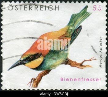 AUSTRIA - CIRCA 2009: Postage stamp printed in Austria, shows bird European Bee-eater (Merops apiaster), circa 2009
