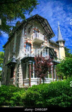 Typical stone Villa in La Baule, Brittany, France. - Stock Photo