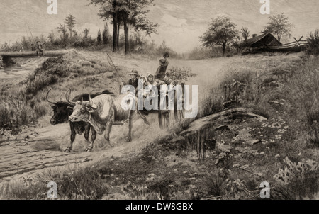 Sweet Cider - ox cart pulling children and barrels of cider, circa 1890 - Stock Photo