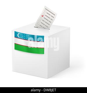 Election in Uzbekistan: ballot box with voting paper on white background - Stock Photo